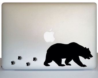 Laptop decal sticker bear tracks, Laptop decal wildlife decor, Bear decal laptop, Bear sticker laptop, Bear decor laptop