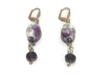 On Sale! Pansy Purple Drop Earrings