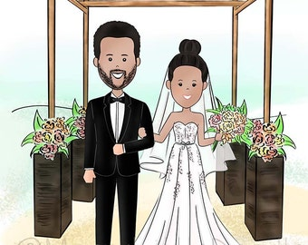 Wedding Illustration, Save the Date, Wedding Gift, Cartoon/ Doodle Drawing (Digital)