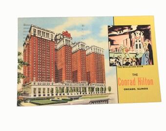 1950s Conrad Hilton Postcard, Chicago, Illinois, Vintage, Ephemera