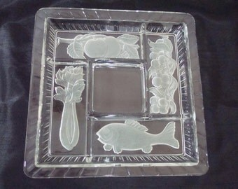 Glass Relish Tray with Dividers - Frosted Fish Celery And Fruit