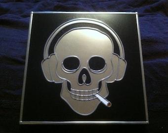 "Hand Made 'Audio Skull' design Mirror. 12x12"""
