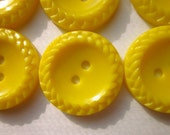"""12 Vintage Buttons, 3/4"""" Bright Yellow Plastic with Braided Rim, Two-hole Sew-through"""