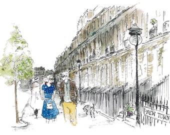 new town, original drawing, illustration