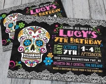 Sugar Skull Birthday Invitation (Digital)