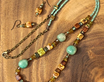 Bohemian Stone and Glass Necklace and Earrings