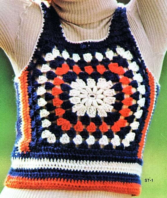 Crochet College Sports Vest Pullover Sweater Granny Square