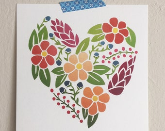 "5x5"" Print - Floral Heart"