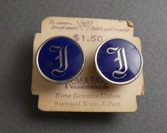 Kum-A-Part -silvertoned initialed cuff links on original card
