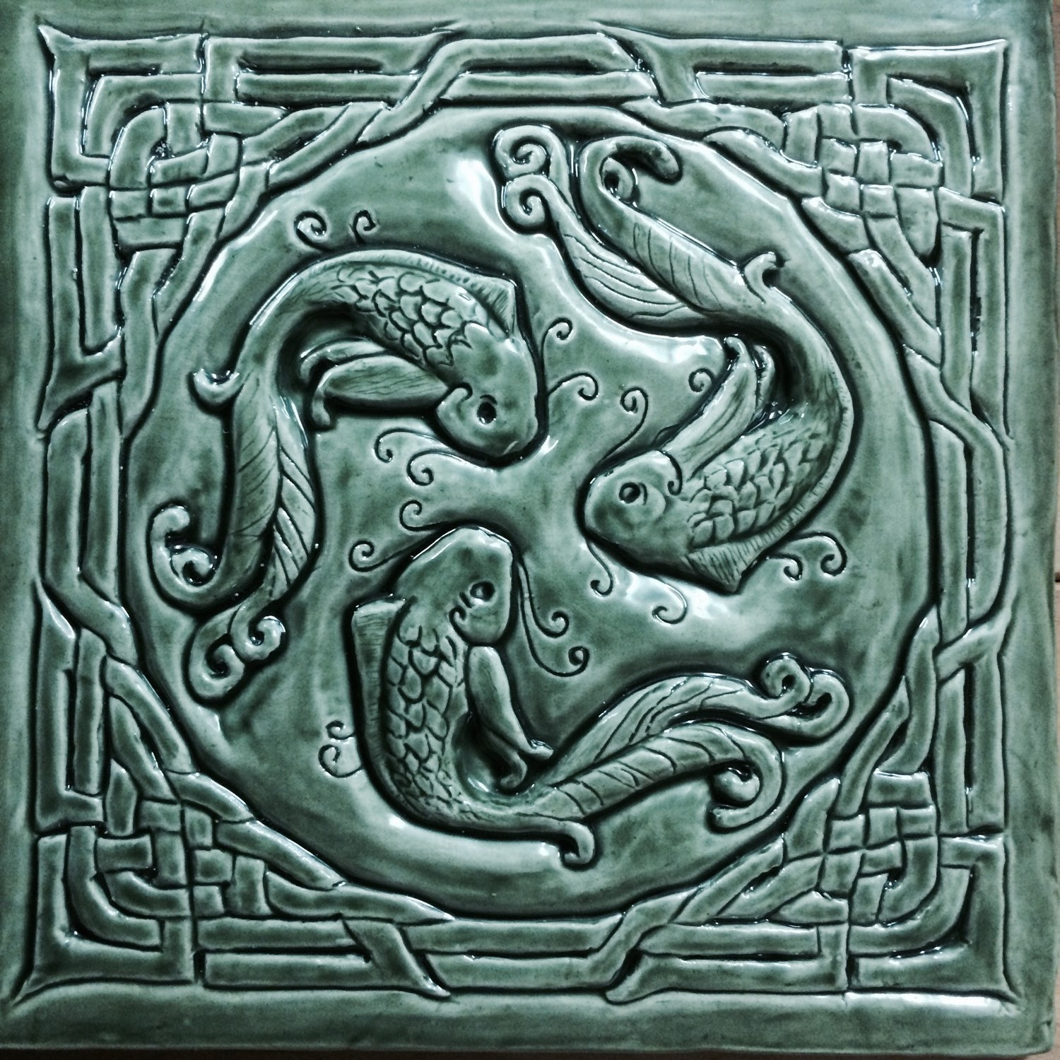 Celtic Fish Of Knowledge Ceramic Bas Relief Tile In