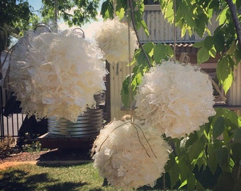 Set of 7 lace balls for tree hanging or other.