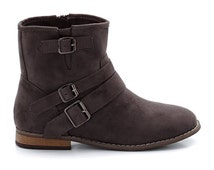 Flat Biker Ankle Boots-Motorbike Style-Suedette Uppers
