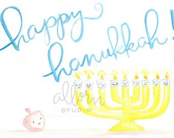 Happy Hanukkah Printable Card Set--Illustrated Watercolor, Fan Art, Kawaii, A2 Card and envelope, Stationery