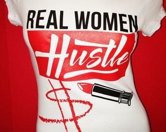 Real Women Hustle-White & Red