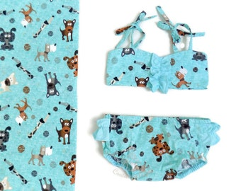 FREE SHIPPING - Made to order Baby swimsuit Mint Dogs - Baby bathing suit 6m 12m 18m 24m 3T 4T 5T 6T - Toddler bathers - Baby girl swimsuit
