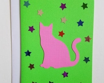 Cat Silhouette Star Card - Green/Pink
