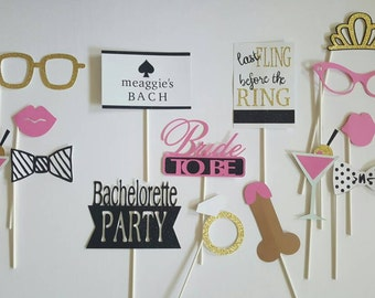 Personalized Black and White Bachelorette Party Photo Booth Props