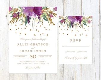 Gold Glitter and Amethyst Wedding Invitation, Purple Watercolor Flowers Wedding Invitation, Gold and Purple Wedding