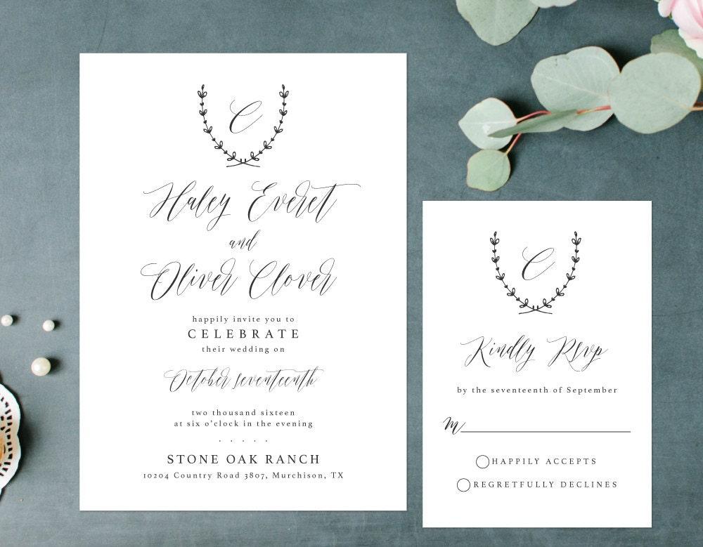 Wedding Invitations Elegant: Elegant Wedding Invitation Simple Rustic Invitation Laurel