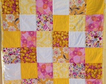 Pink and Yellow Squares, quilt for baby or toddler girl