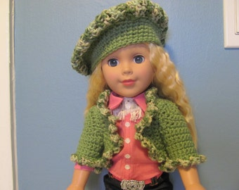 Sweater and Hat Set for 18 inch Doll Crocheted