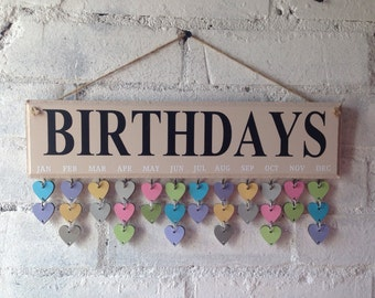 Birthday board, Family birthday board, Birthday organiser, organizer. Wooden sign, Complete with 30 heart disks. Great Birthday present.