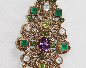 Gold Metal with Moonstone, Amethyst, Peridot, Emerald and Green Tourmaline Pendant