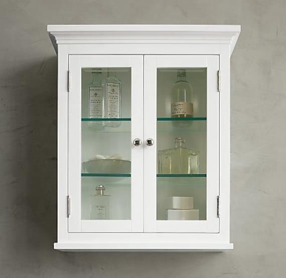 glass door medicine cabinet surface mount with crown details
