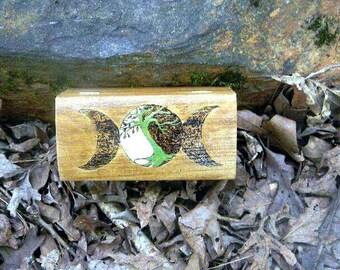 keepsake box - wooden box - wiccan box - Tree of life - Tri-moon - trinket box - handpainted box - moon - glow in the dark - jewelry box