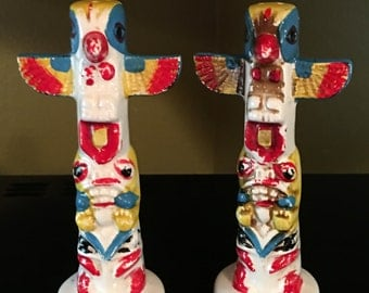 Vintage totem pole salt and pepper shakers