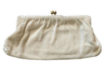Vintage White Hand Beaded Clutch