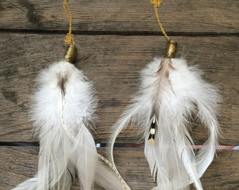 White Bullet and Feather Necklace