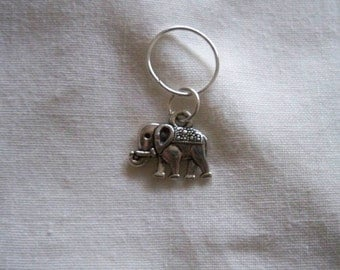 5 Stitch Markers with Elephant Charms