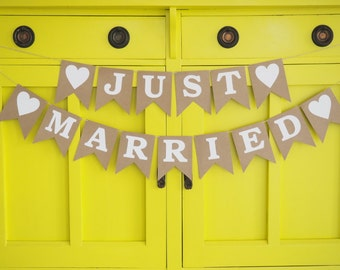 Rustic 'JUST MARRIED' bunting    banner garland wedding decor wedding sign just married mr and mrs rustic decorations