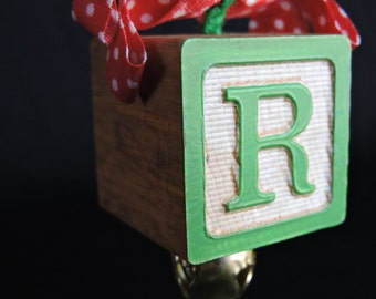 Vintage (Green R, Yellow E) Wood Alphabet Letters Block Bell Ribbon Christmas Holiday Ornament