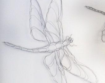 "2D 9"" Dragonfly Wire Sculpture by Elizabeth Berrien"