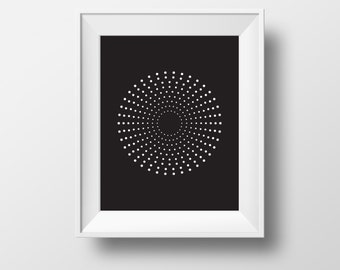 minimalist art, black and white circle, dot print, scandinavian print, scandinavian art, black print, printable art