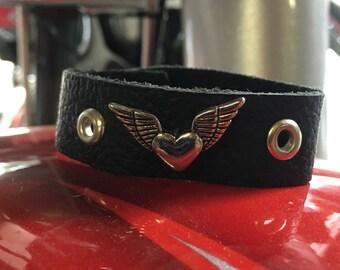 Heart & Wings Leather Bracelet