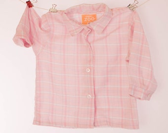 Childs pink check shirt, long sleeved, 12 - 18 months, warm poly-cotton, boys shirt, girls blouse, vintage, pre-loved,