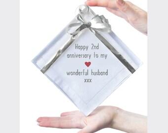 Cotton 2nd Anniversary Gift, Hemstitch Handkerchief for Husband / Him