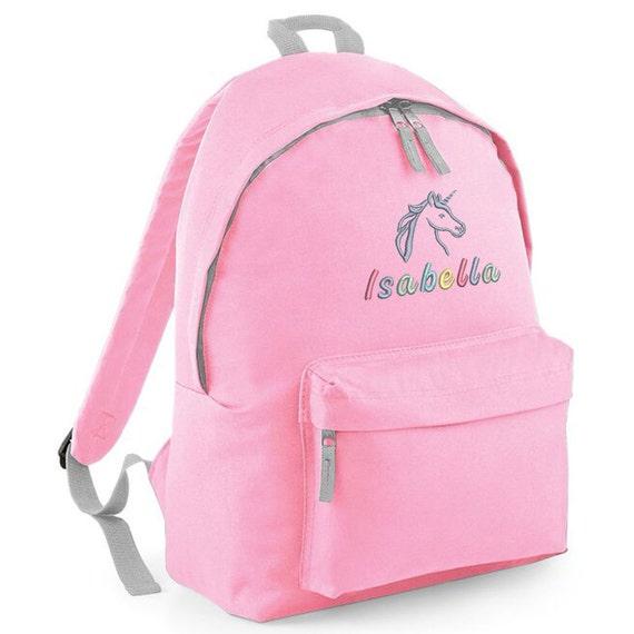 Personalised Rainbow Unicorn Girls Pink School Rucksack