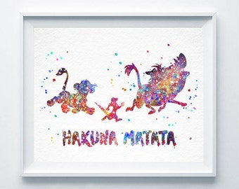 Hakuna Matata Watercolor Print The Lion King Simba Timon Pumba Print Disney Poster Nursery Art Painting Decor Children Friends Gift A142