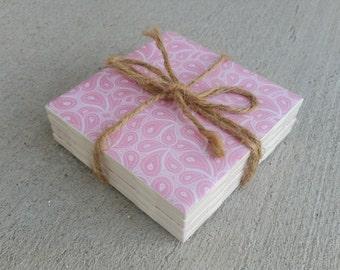 Light Pink Ceramic Coasters - Set of 4 - handmade home decor - Dining - 4.25x4.25