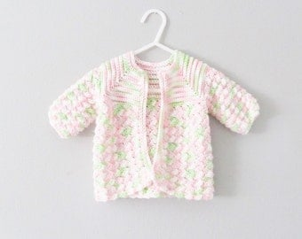 Vintage 1950's Baby Green & Pink Knit Girls Sweater / Infant Child's Button Crocheted Knit Cardigan Size 3-6 Months