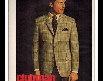 "Vintage Print Ad November 1968 : Clubman Fashion Sportcoats Single Page Wall Art Decor 8.5"" x 11"" Advertisement"