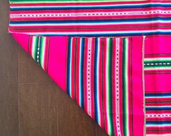 Bolivian blanket | vintage handwoven blanket | bright rug | vintage wall hanging | pink, green, blue, black | striped throw blanket