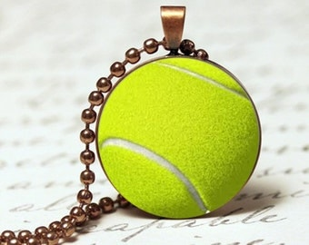 Tennis ball sports pendant necklace