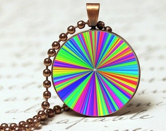 Awesome rainbow coloured zoom pendant necklace, colourful bright pendant