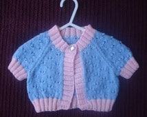 Pale Pink and Pale Blue Bolero or Cardigan with Short Sleeves