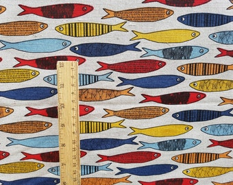 """Linen fabric by the meter, linen fabric with fish print, flax fabric, grey linen by the yard 150cm 59"""" fish printed linen fabric heavy linen"""